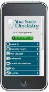 Mobile Zahnarzt Webseite